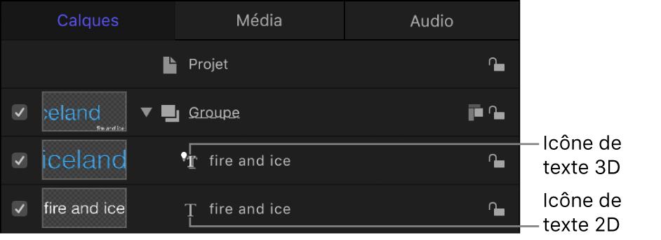 Liste Calques affichant l'icône de texte3D