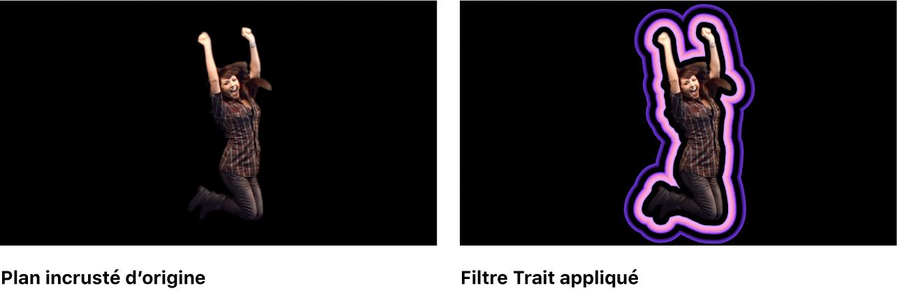 Canevas affichant l'effet du filtre Trait