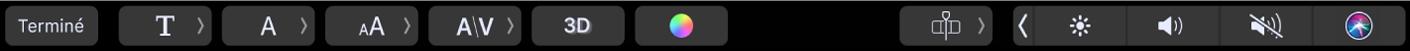 Options de texte dans la TouchBar
