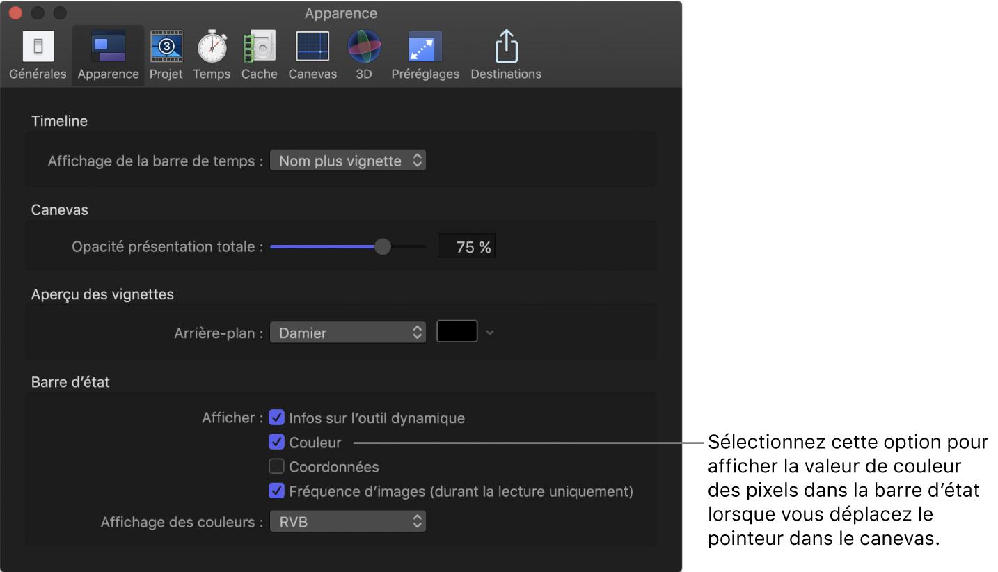 Fenêtre Préférences de Motion affichant la sous-fenêtre Apparence avec l'option Couleur sélectionnée dans la zone de la barre d'état