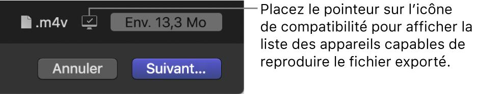 Liste des appareils compatibles dans la fenêtre de partage avec les appareils Apple