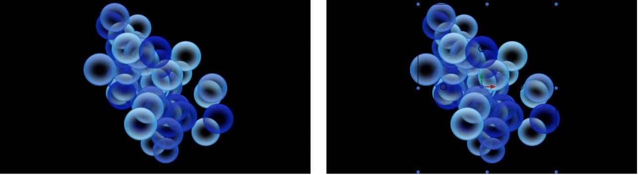Canevas et inspecteur affichant un système de particules défini sur «Sélectionner dans la palette», avec un dégradé pour déterminer les couleurs