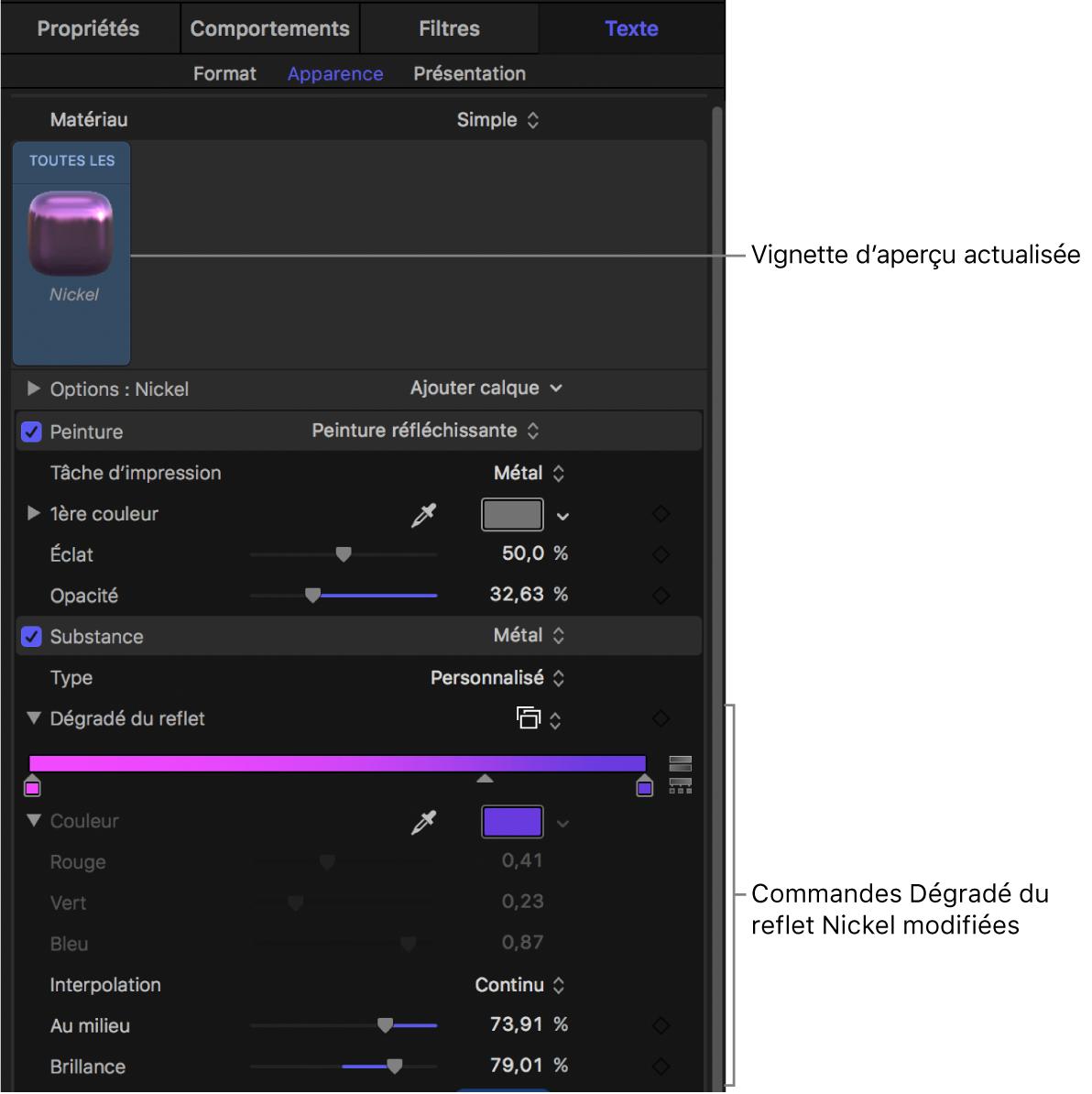 Commandes Dégradé du reflet Nickel modifiées et vignette d'aperçu actualisée dans la fenêtre Apparence de l'inspecteur de texte