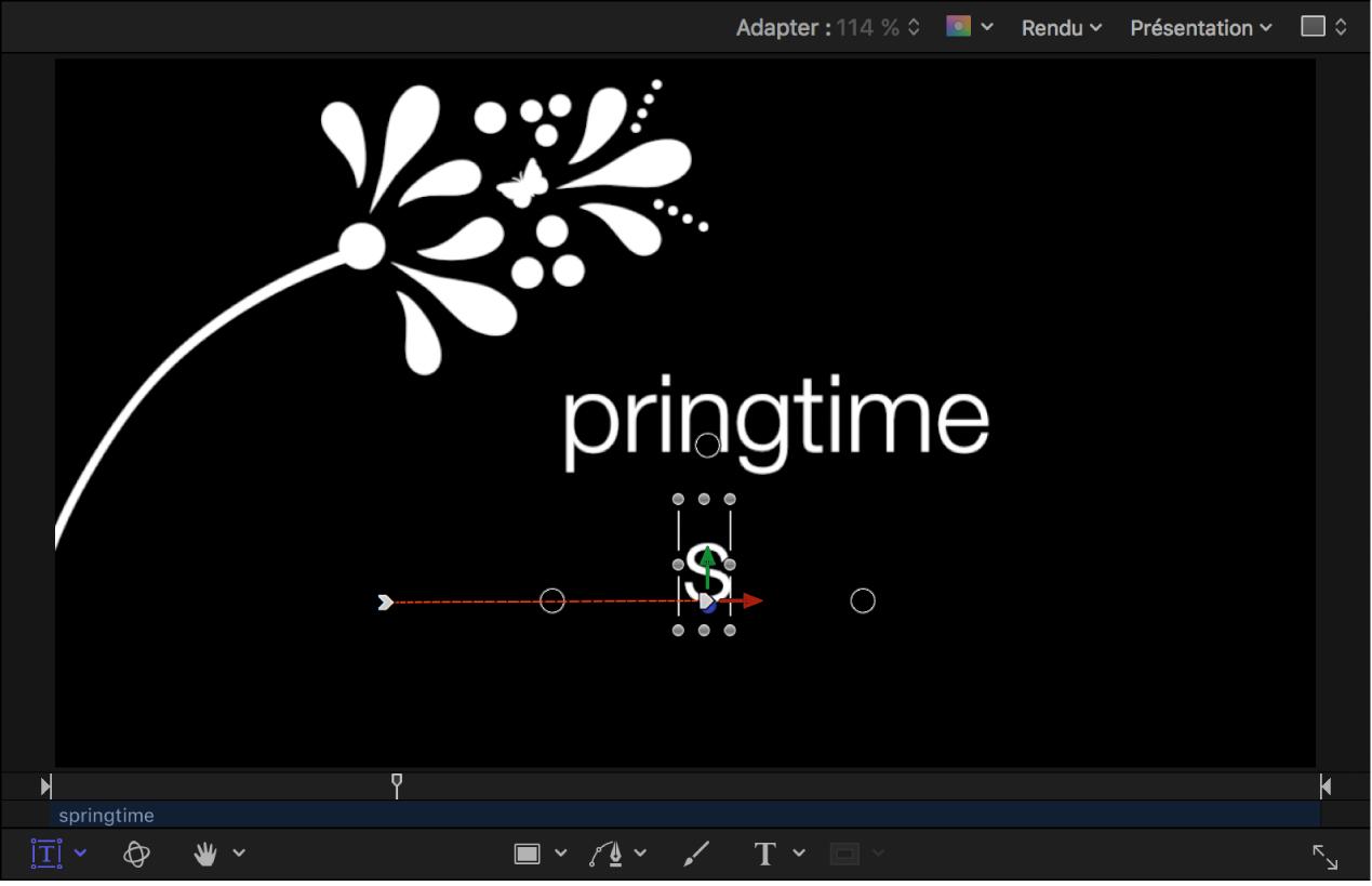Canevas affichant le point d'arrivée de l'animation et dont la trajectoire d'animation est visible