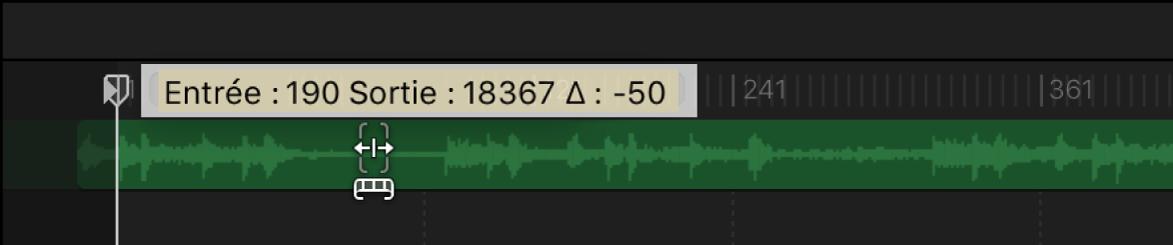 Coulissement d'une piste audio dans la timeline audio