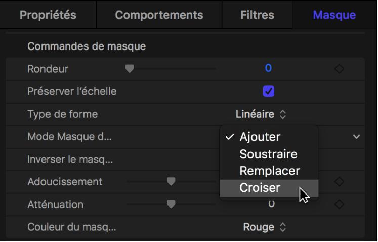 Fenêtre Masque affichant le menu local «Mode Masque de fusion»