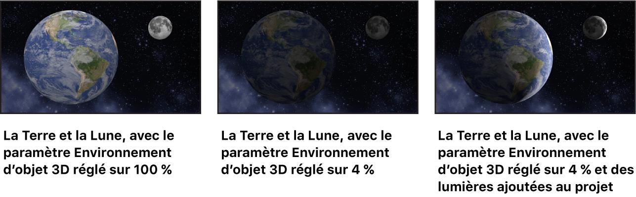 Images montrant l'effet des réglages Environnement sur des objets3D