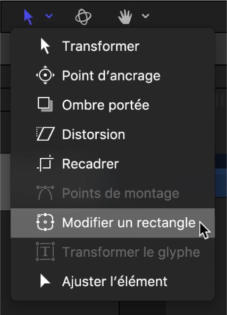 Sélection de l'outil Modifier le rectangle dans les outils de transformation de la barre d'outils du canevas