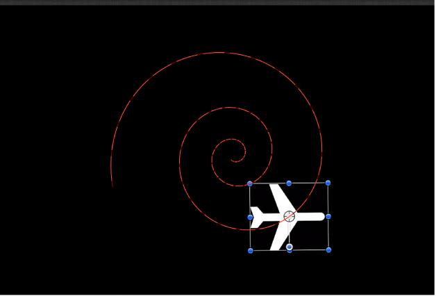 Objet suivant la trajectoire d'animation sans comportement «Magnétiser l'alignement sur l'animation» appliqué