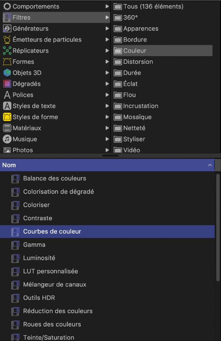 Catégorie de couleur sélectionnée dans la bibliothèque des filtres