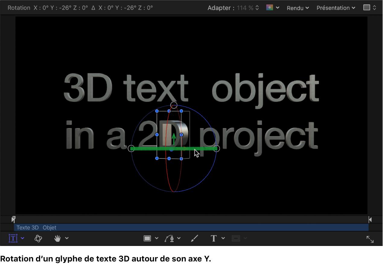 Rotation d'un glyphe de texte3D autour de l'axeX dans le canevas