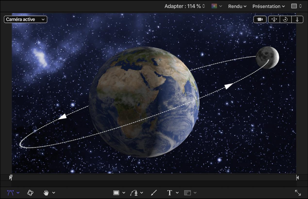 Objets3D représentant la Terre et la Lune dans le canevas