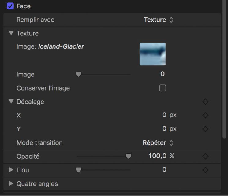 Inspecteur de texte affichant les commandes d'édition Texture, parmi lesquelles Image de départ, Conserver l'image, Décalage et Mode de transition