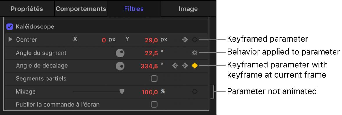 Inspecteur reprenant les options des icônes du menu Animation