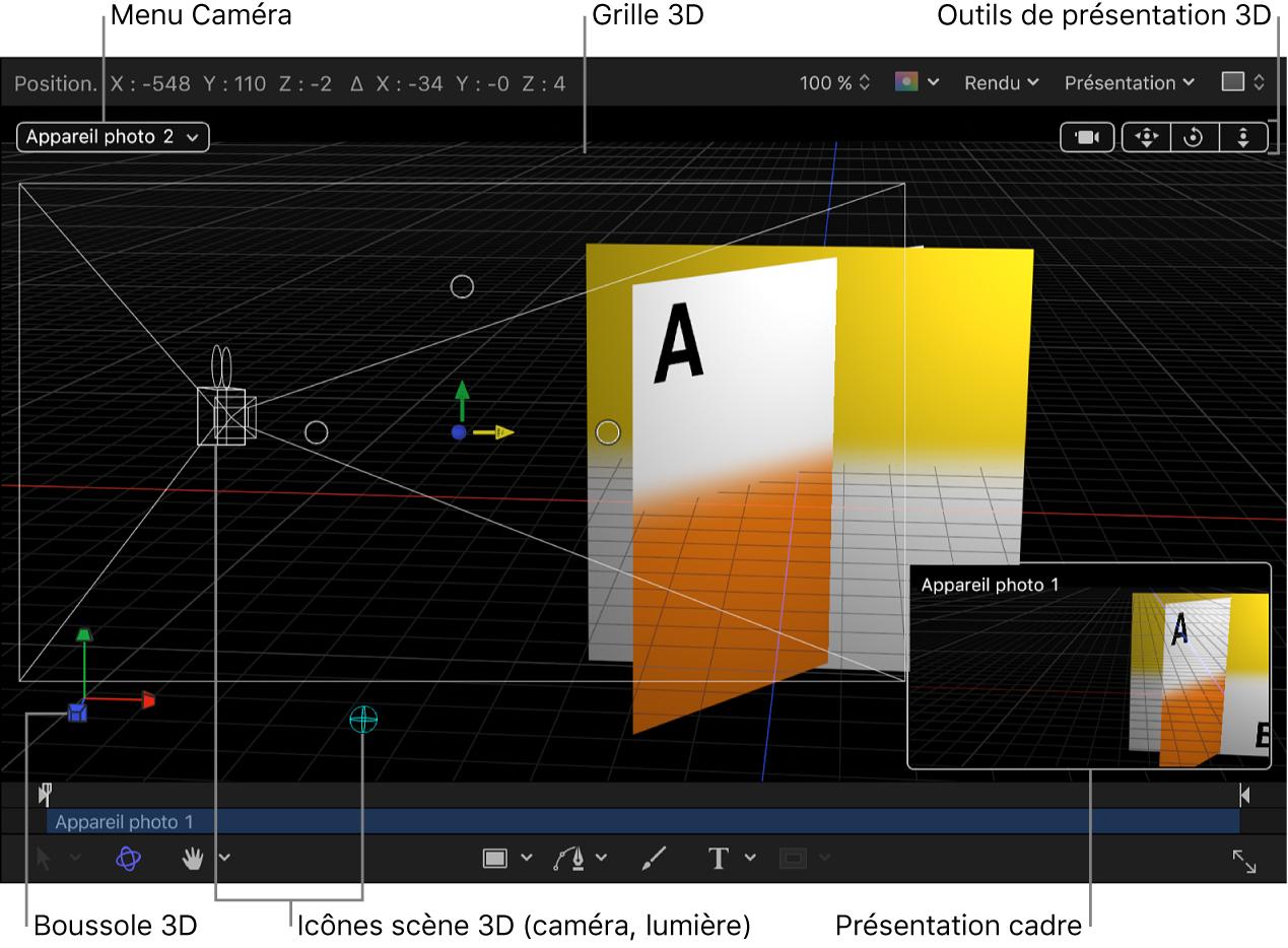 Canevas affichant les commandes3D: le menu local Caméra, les outils de présentation3D, les icônes de scène3D, la grille3D, la boussole3D et la présentation cadre