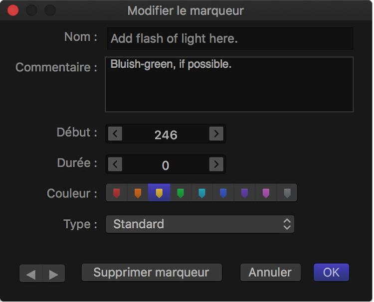 Zone de dialogue Modifier le marqueur