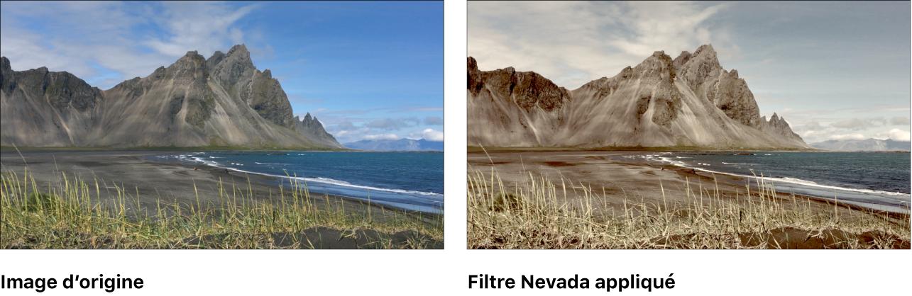 Canevas affichant l'effet du filtre Nevada