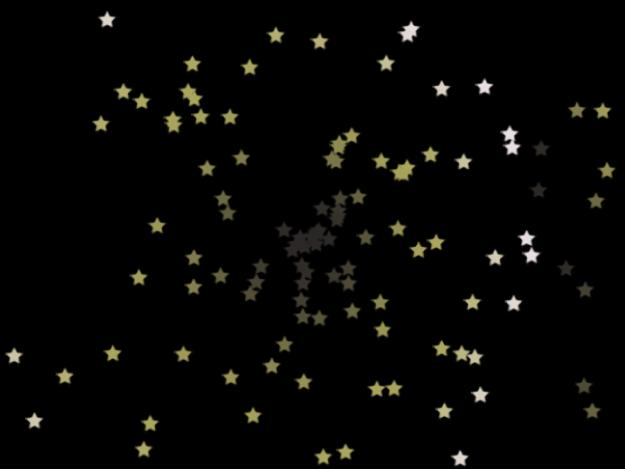 Canevas affichant un système de particules où l'option «Afficher les particules sous forme de» est définie sur Image