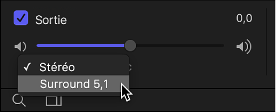 Liste Audio affichant le menu local de canal de sortie dans la zone de piste audio Sortie