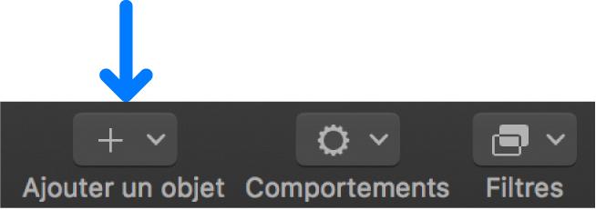 Bouton Ajouter un objet dans la barre d'outils