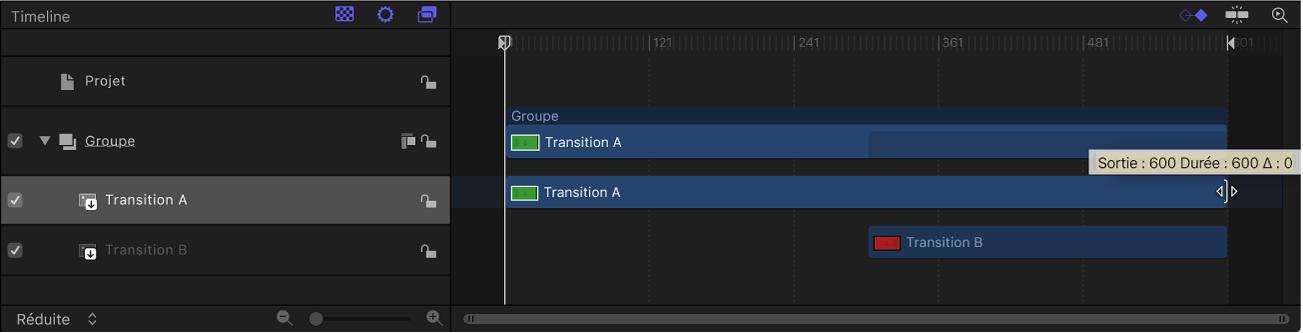 Glissement de la barre de temps de TransitionA dans la timeline