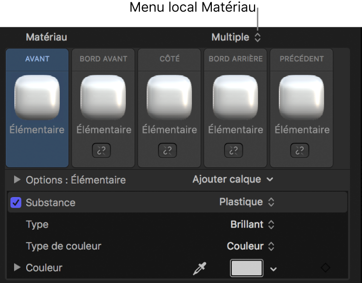Inspecteur de texte3D affichant le menu local Matériau réglé sur Multiple
