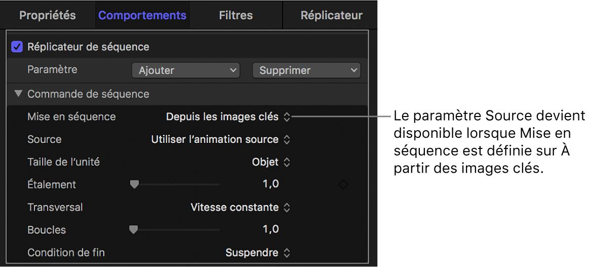 Inspecteur de comportements affichant le paramètre Source qui s'affiche lorsque le menu local Mise en séquence est défini sur Personnaliser