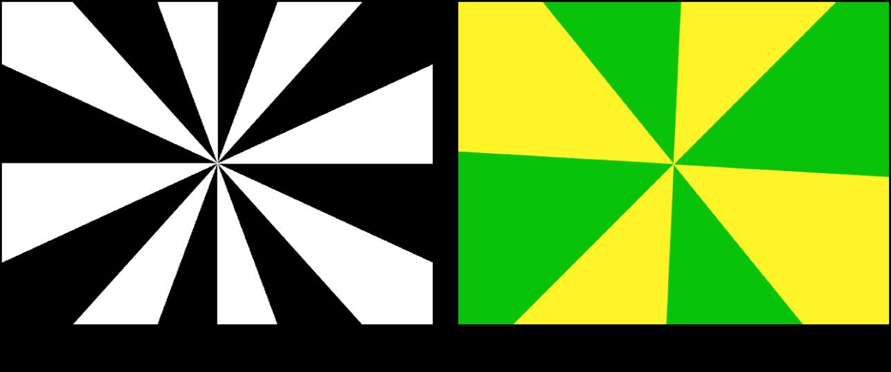Canevas affichant le générateur «Rayon de deux couleurs» avec un grand choix de réglages