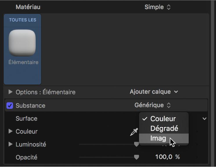 Sélection de l'option Image dans le menu local Surface de la fenêtre Apparence de l'inspecteur de texte