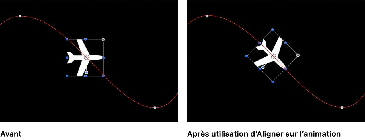 Canevas affichant l'effet du comportement Aligner sur l'animation