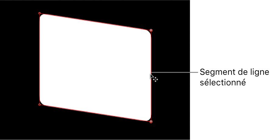 Canevas affichant un segment de ligne en cours d'ajustement