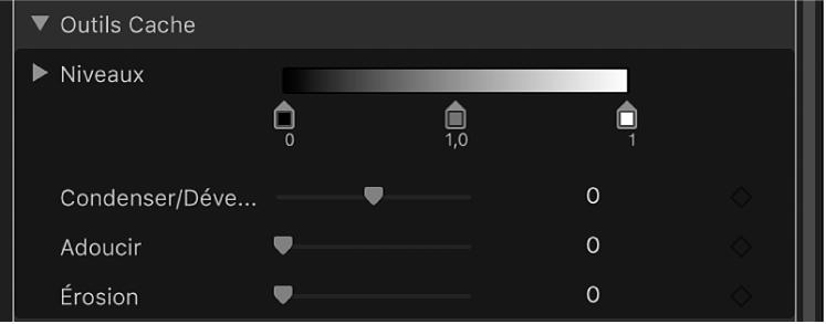 Commandes des outils Cache du filtre Incrustateur