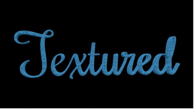 Calque de peinture texturée appliqué à du texte3D dans le canevas