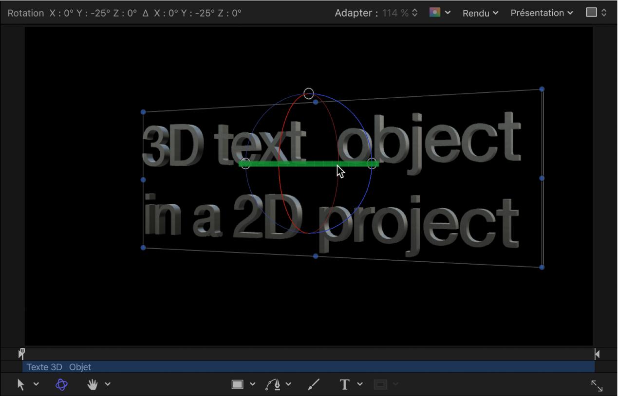 Canevas affichant un exemple de texte3D en rotation dans un projet3D