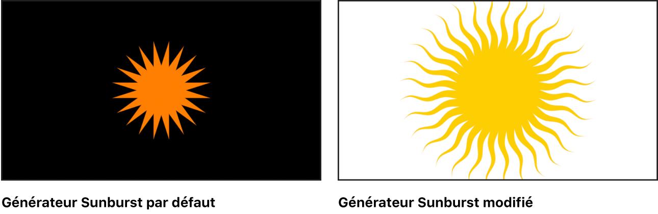 Canevas affichant le générateur Sunburst avec un grand choix de réglages