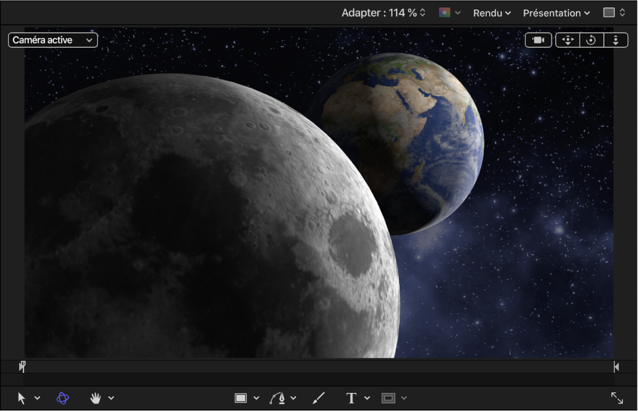 Objets3D représentant la Terre et la Lune dans le canevas avec une valeur «Environnement d'objet 3D» réduite et des lumières ajoutées au projet