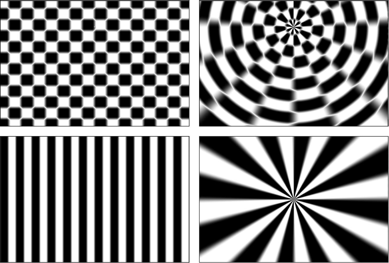 「チェッカーボード」ジェネレータと「ストライプ」ジェネレータでの「極座標」フィルタの効果を示すキャンバス