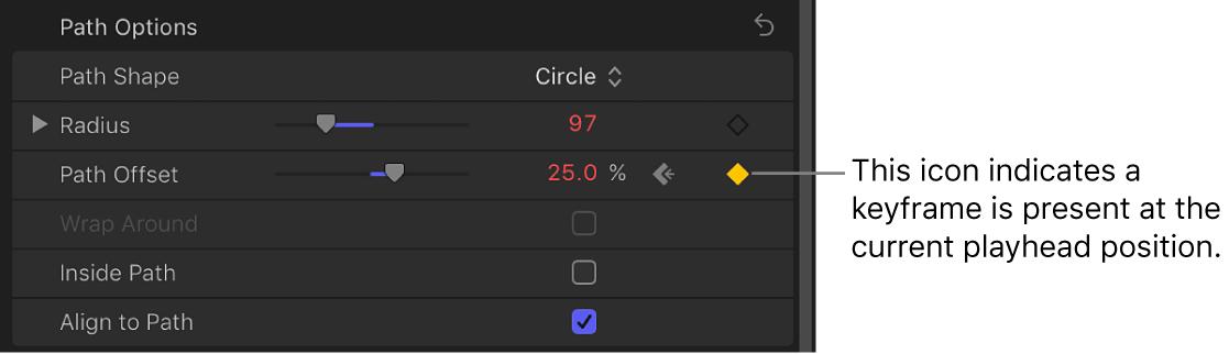 「テキスト」インスペクタ。「パスのオフセット」パラメータのアニメーションメニューにキーフレームアイコンが表示されています