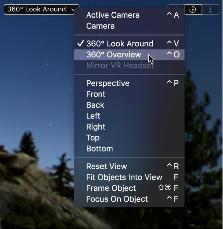 キャンバスの「カメラ」ポップアップメニューから「360°オーバービュー」を選択しています