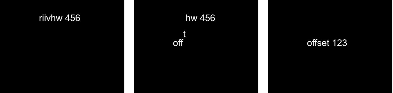 キャンバスに、「文字のオフセット」が3に設定された「シーケンステキスト」ビヘイビアが表示されています