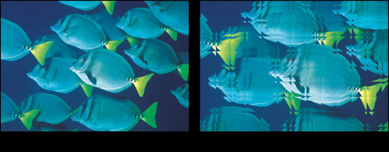 「ガラスブロック」フィルタの効果を示すキャンバス