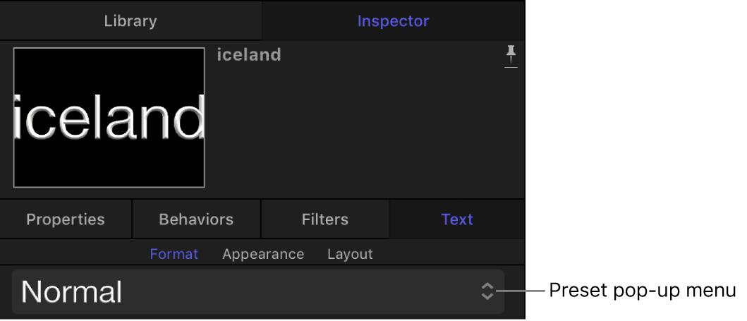 「テキスト」インスペクタの「フォーマット」パネルのプリセットのテキストスタイルのポップアップメニュー