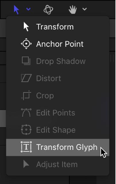 キャンバスツールバーで「グリフを変形」ツールを選択しています
