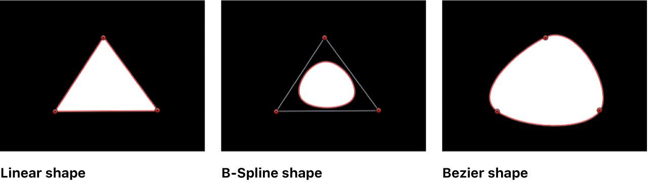 显示线性形状、B 样式曲线形状和贝塞尔曲线形状的画布