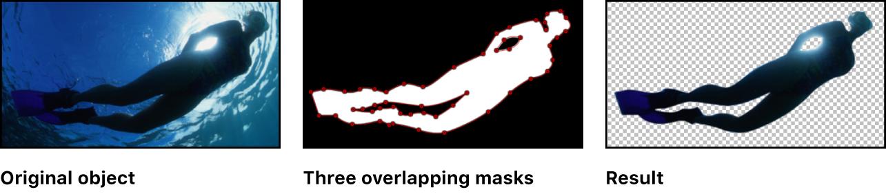 显示三个重叠遮罩的画布