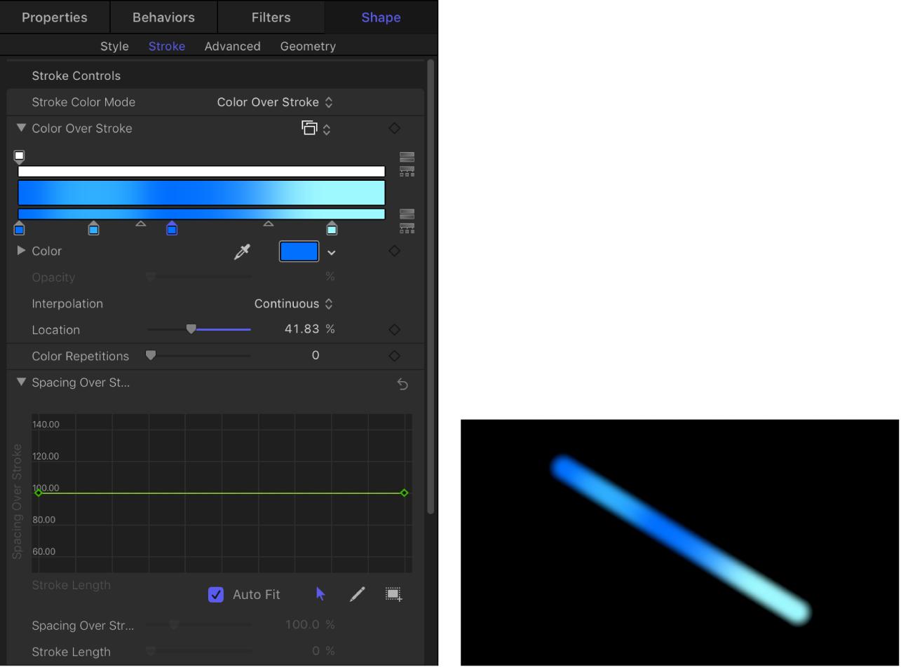 """显示""""笔画上的间距""""迷你曲线编辑器(显示连续的 100% 值)的画布和""""笔画""""面板"""