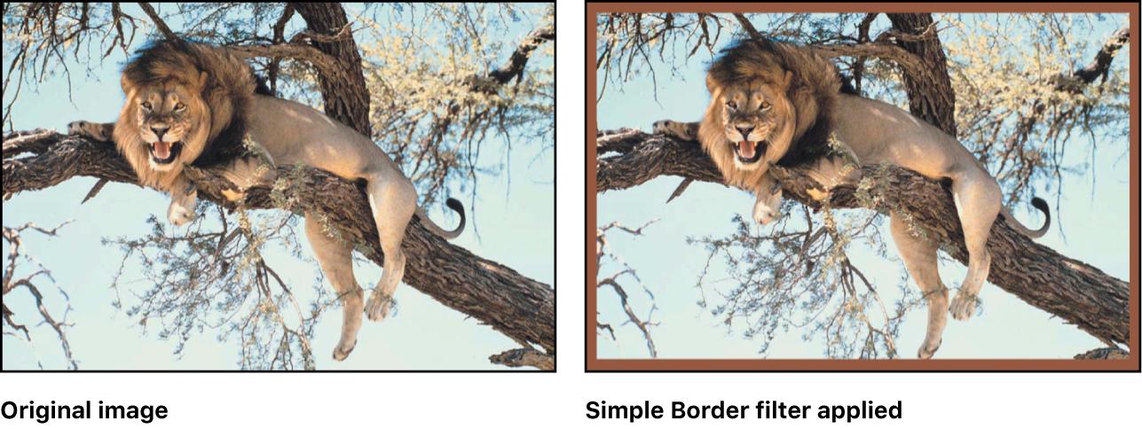 """显示""""简单边框""""滤镜效果的画布"""