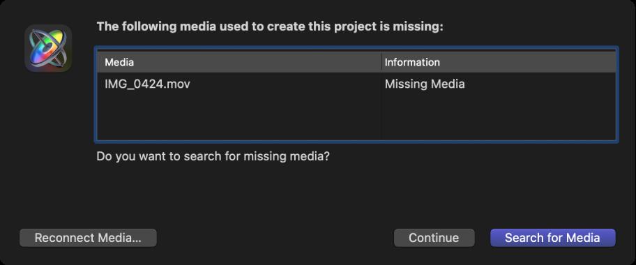 显示缺少媒体的文件列表的对话框