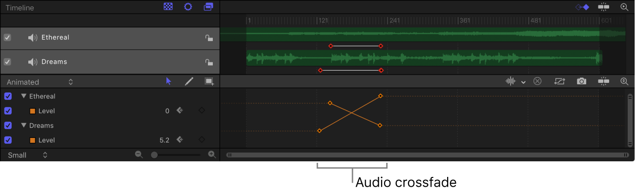 关键帧编辑器中显示的音频交叉渐变的示例