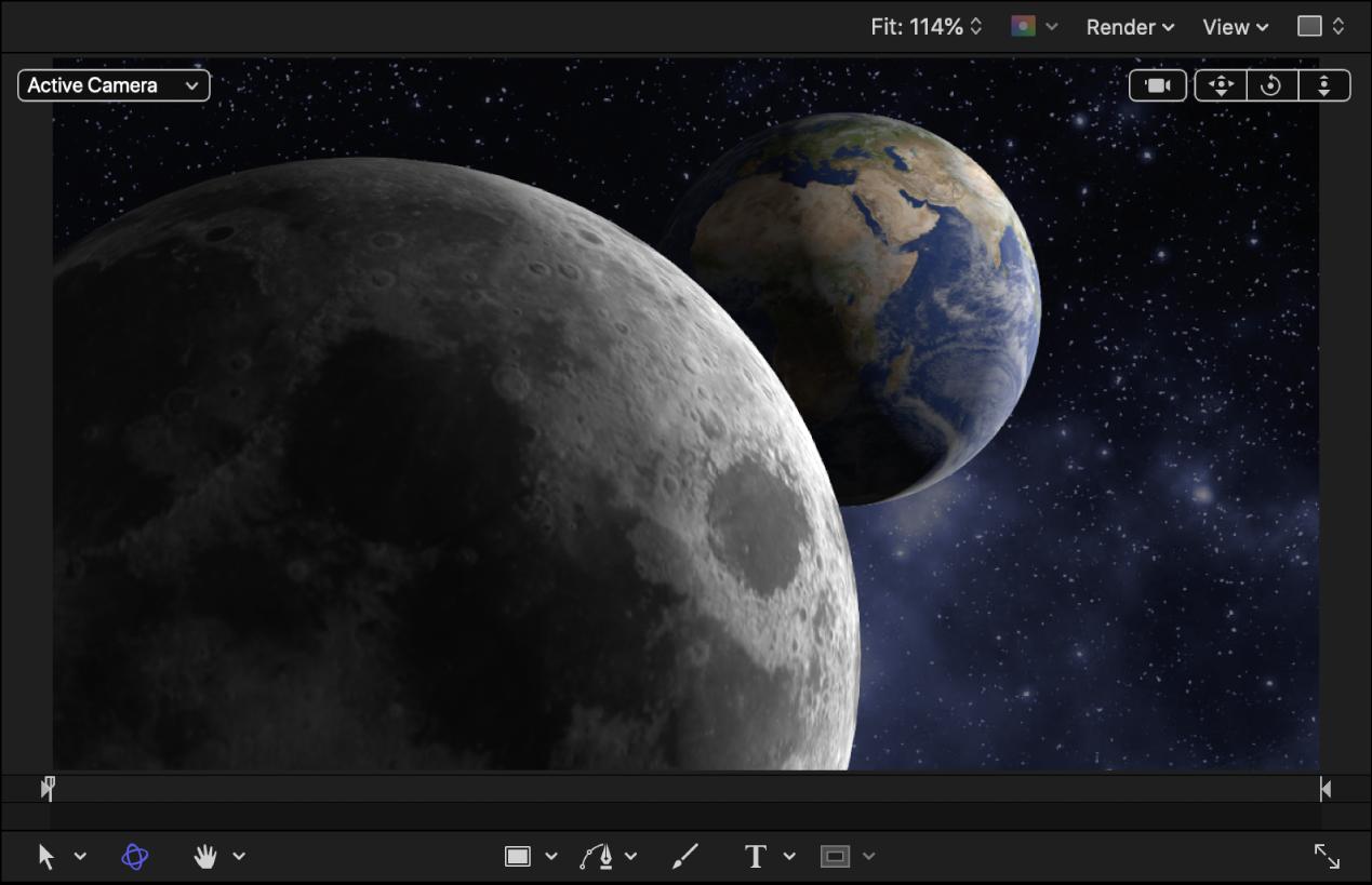 """画布中具有较低""""3D 对象环境""""值的地球和月球 3D 对象,且光源已添加到项目"""
